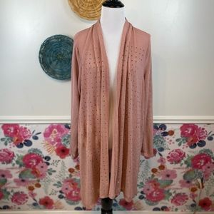 NWT Rose Gold Blush Sparkle Cardigan Duster One Size